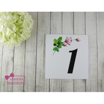 Numery stołów kolekcja BOHO z różami
